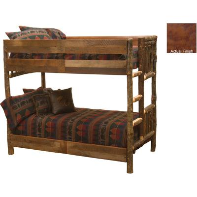 Hickory Log Single/Single Bunk Bed with Right Ladder - Cognac