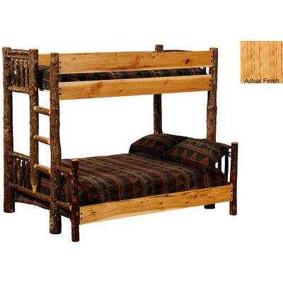 Hickory Log Queen/Single Bunk Bed with Left Ladder - Natural Hickory