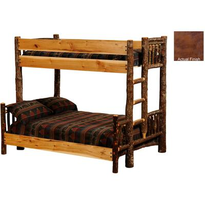 Hickory Log Queen/Single Bunk Bed with Right Ladder - Cognac