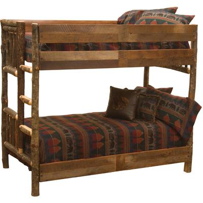 Hickory Log Double/Double Bunk Bed with Left Ladder - Barnwood
