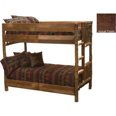 Hickory Log Queen/Queen Bunk Bed with Right Ladder - Espresso