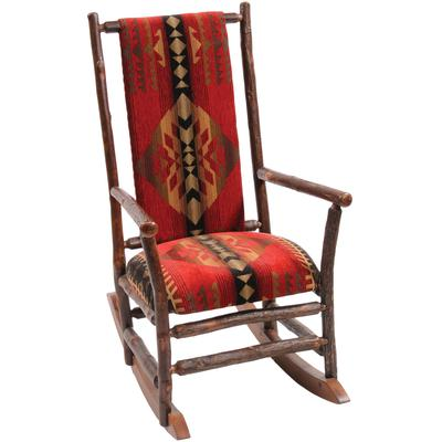 Hickory Log Rocking Chair with Standard Leather - Natural Hickory