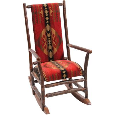 Hickory Log Rocking Chair with Upgrade Fabric - Natural Hickory