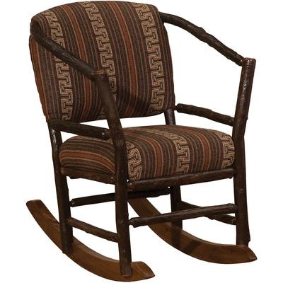 Hickory Log Hoop Rocking Chair with Standard Fabric - Natural Hickory