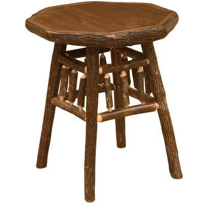 Hickory Log Teton End Table - Natural Hickory