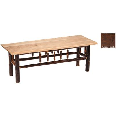 "Hickory Log 60"" Bench with Wood Seat - Espresso"