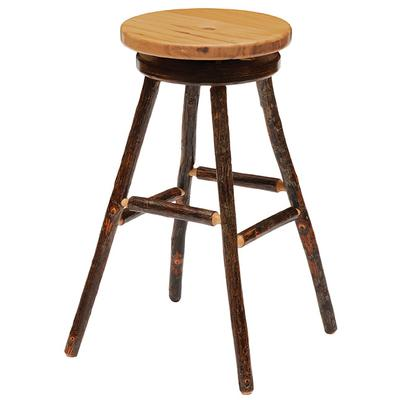 "Hickory 30"" Round Swivel Barstool with Wood Seat - Natural Hickory"