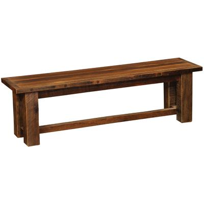 "Barnwood 60"" Bench with Wood Seat - Artisan"