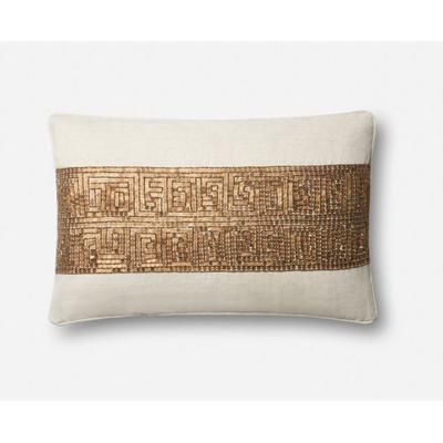 "13"" x 21"" Ivory/Gold Pillow"