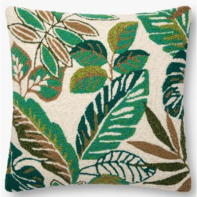 "22"" x 22"" Green/Multicolored Pillow"