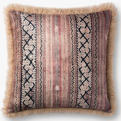 "22"" x 22"" Multicolored/Beige Pillow"