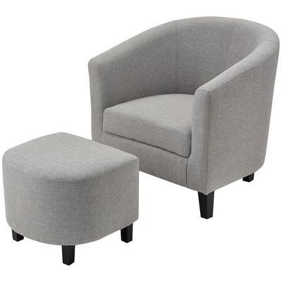 Elana Linen Chair with Ottoman - Grey
