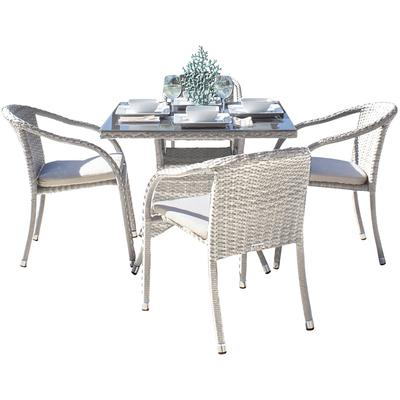 Santorini 5-Piece Arm Chair Dining Set with Cushions