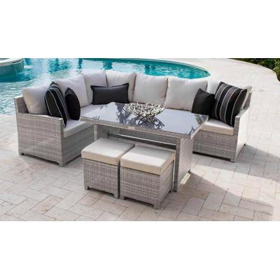 Santorini 5-Piece Sectional Dining Set with Cushions