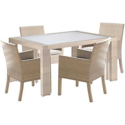 Cubix 5-Piece Arm Chair Dining Set with Cushions