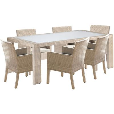 Cubix 7-Piece Arm Chair Dining Set with Cushions