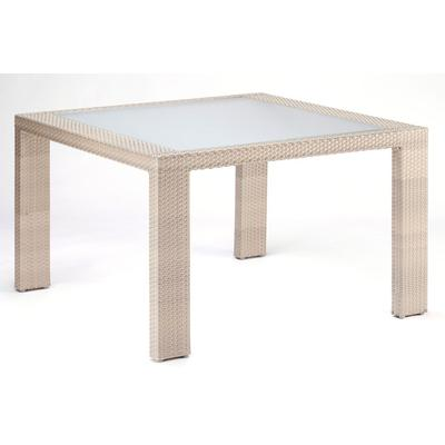 Cubix Square Woven Dining Table with Glass