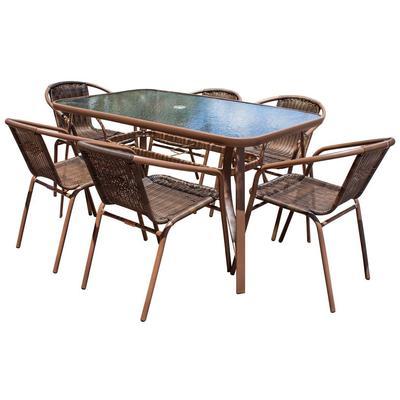 Panama Jack Cafe 7-Piece Woven Dining Set