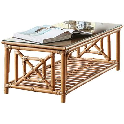 Panama Jack Plantation Bay Coffee Table with Glass Top