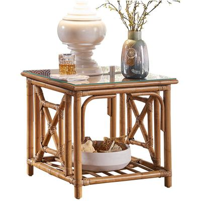 Panama Jack Plantation Bay End Table with Glass Top