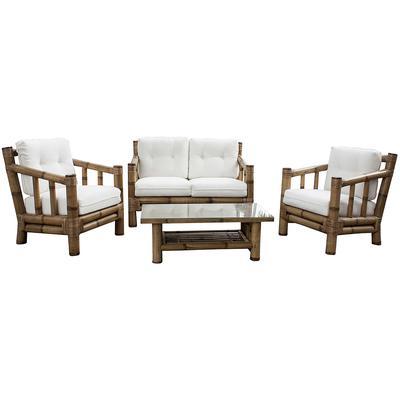 Panama Jack Kauai Bamboo 4-Piece Living Set with Cushions