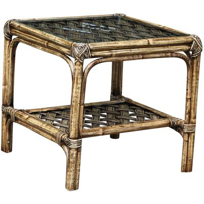 Panama Jack Old Havana End Table with Glass Top