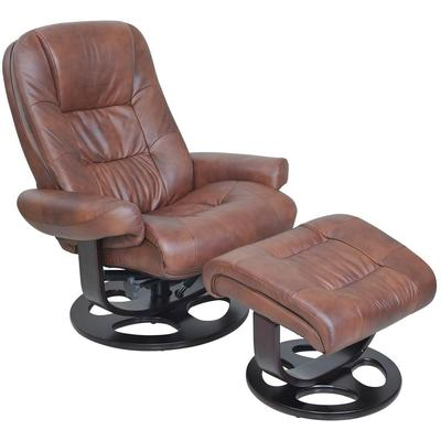 Jacque Pedestal Recliner and Ottoman in Leather - Hilton Whiskey