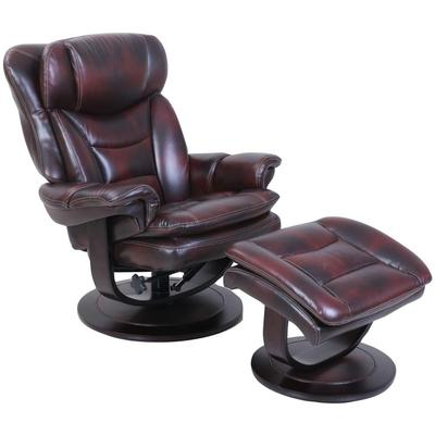Roscoe Pedestal Recliner and Ottoman in Leather - Plymouth Mahogany