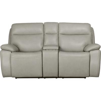 Modern Expressions Micah Power Reclining Console Loveseat with Power Head Rests - Venzia Cream