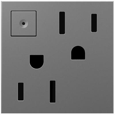 Adorne 15A Energy-Saving On/Off Outlet - Magnesium