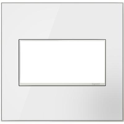 Adorne 2-Gang Wall Plate - Mirror White/White