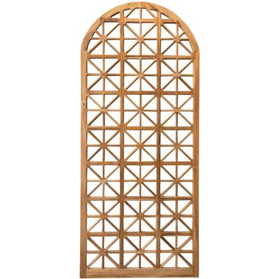 Arched Teak Lattice Floor Mirror