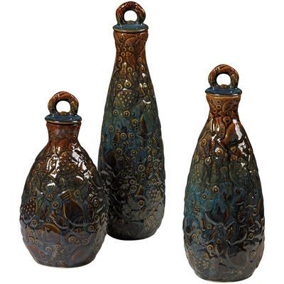 Set of 3 Shoal of Fish Ceramic Jars