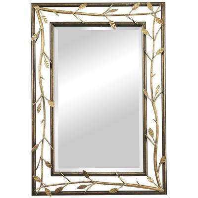 Metal Branch Framed Mirror - Gold Leaf
