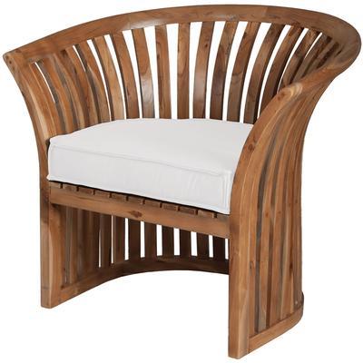 Teak Barrel Chair Cushion - White