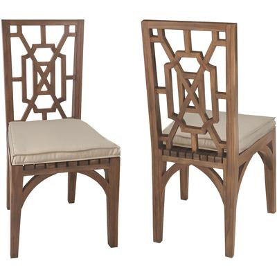 Set of 2 Cushions for Teak Garden Dining Chair - Cream