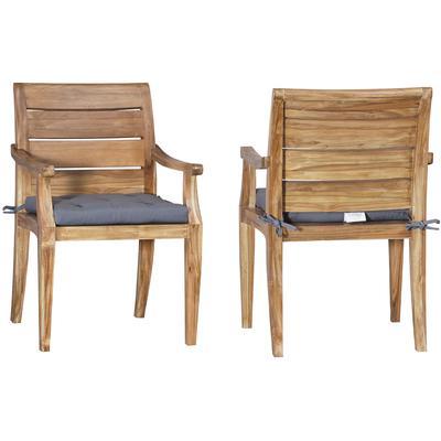 Set of 2 Cushions for Teak Club Arm Chair - Grey