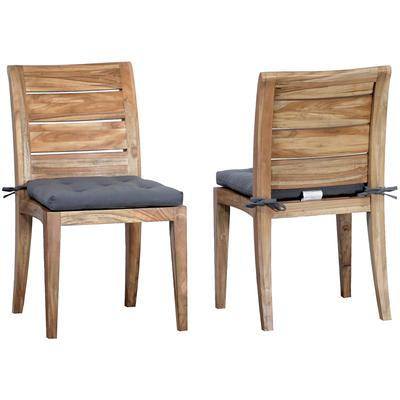 Set of 2 Cushions for Teak Club Side Chair - Grey