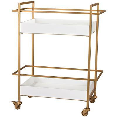 Kline Bar Cart - White/Gold