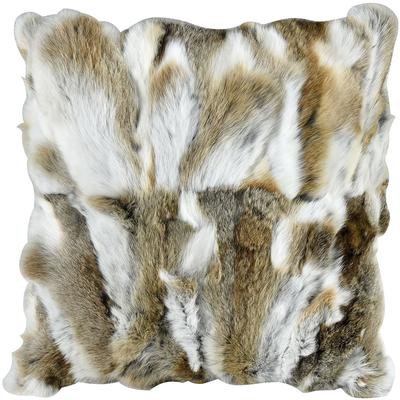 Heavy Petting Genuine Rabbit Fur Accent Pillow - Natural Brown