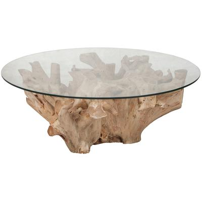 Yava Teak Root Cocktail Table with Glass Top - Natural