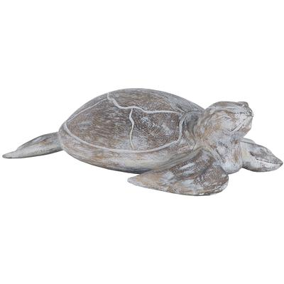 Albasia Wood Galapagos Turtle - Whitewashed