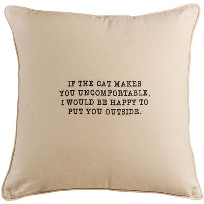 "20"" x 20"" If the Cat Makes You Uncomfortable Pillow - Bleached White/Gold"
