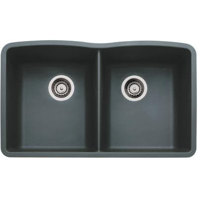 Diamond Silgranit Equal Double Bowl Kitchen Sink in Anthracite