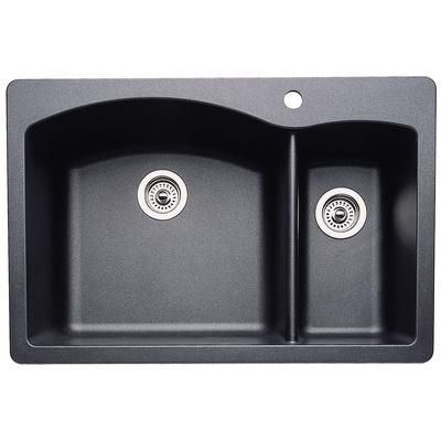 Diamond Silgranit 1-1/2 Bowl Kitchen Sink in Anthracite