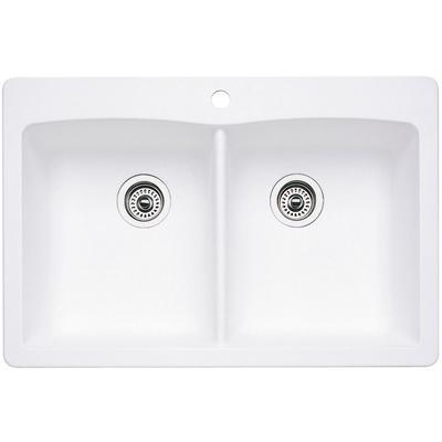 Diamond Silgranit Equal Double Bowl Kitchen Sink in White
