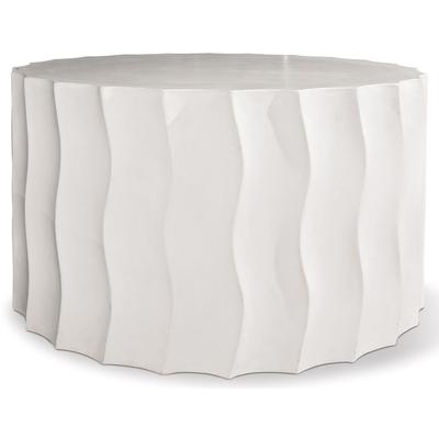 Perpetual Wave Wide Accent Table - Ivory White
