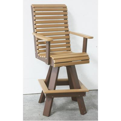 Rollback Swivel Bar Chair - Two-Tone Wood Grain