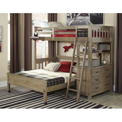 Highlands Twin Loft Bed with Full Lower Bed - Driftwood