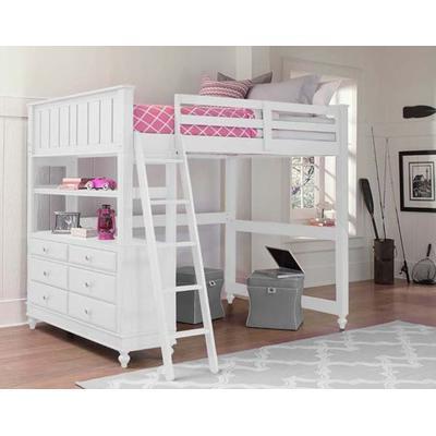 Lake House Full Loft Bed - White